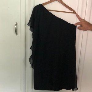 Black one shoulder cocktail dress